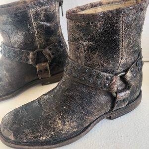 Frye Phillip stud distressed moto harness boots